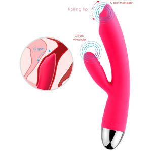 Сливово-розовый вибратор Trysta с клиторальным отростком и движущимся шариком в кончике - 18,6 см.