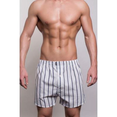 Мужские белые трусы-шорты в полоску