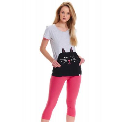 Уютная пижама с котиком на футболке