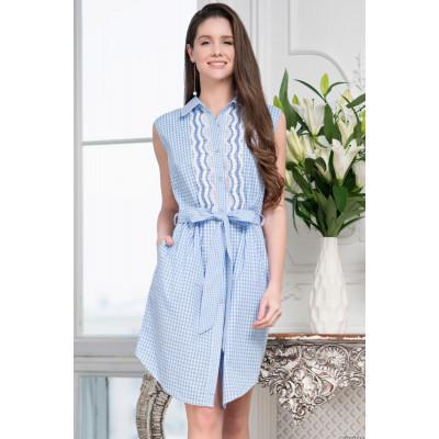 Клетчатое платье-рубашка Tracy с кружевом