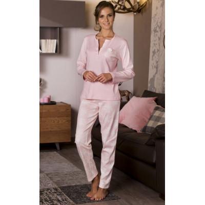 Хлопковая пижама с цветочным принтом на брюках и кармашке