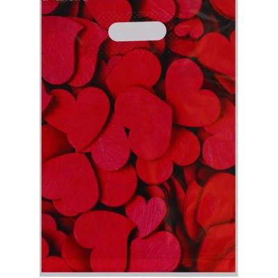 Полиэтиленовый пакет с красными сердечками - 31 х 40 см.