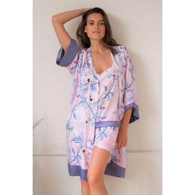 Элегантный халат-кимоно из вискозы с цветочным принтом