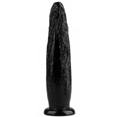 Черная рельефная анальная втулка - 28 см.