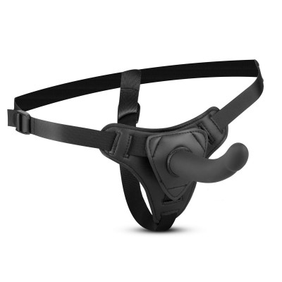 Черный страпон Harness With Silicone Dildo - 13,5 см.