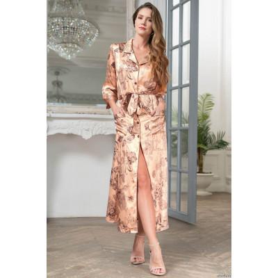 Элегантный шелковый длинный халат Letual