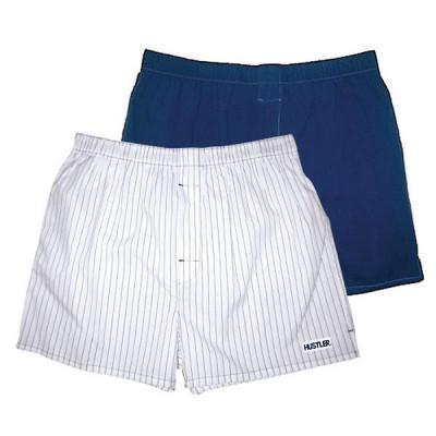 Комплект из 2 мужских трусов-шортов: синие и белые в голубую полоску