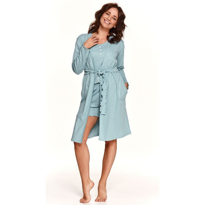 Женский халат из хлопкового полотна в рубчик