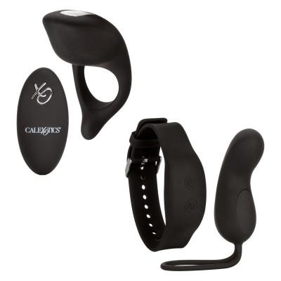 Черный вибронабор для двоих Silicone Remote Foreplay Set