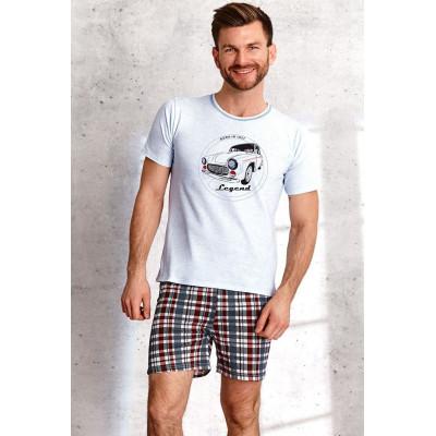 Мужская хлопковая пижама Szymon с клетчатыми шортами