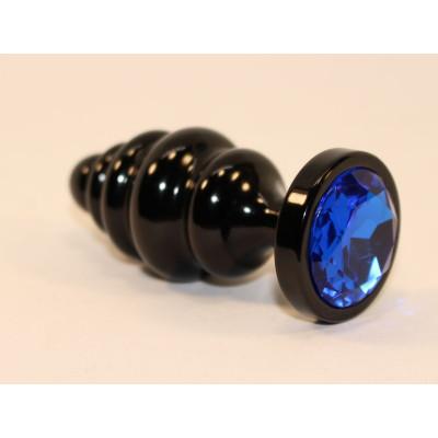 Черная фигурная анальная пробка с синим кристаллом - 8,2 см.