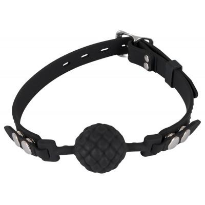 Черный силиконовый рельефный кляп Silicone Ball Gag